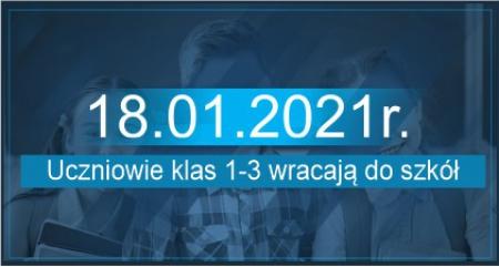 Planowany powrót klas 1-3 do szkoły od 18.01.2021r.